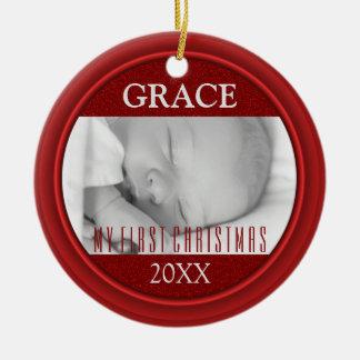 Ornamento De Cerâmica Dobro da lembrança da foto do Natal do bebê o