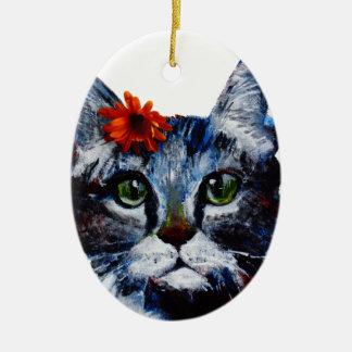 Ornamento De Cerâmica Doce de fruta, o gato bonito que veste uma flor