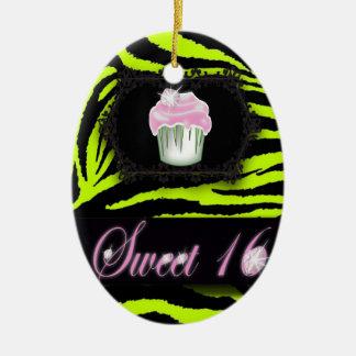 Ornamento De Cerâmica Doce dezesseis do cupcake do rosa do impressão da