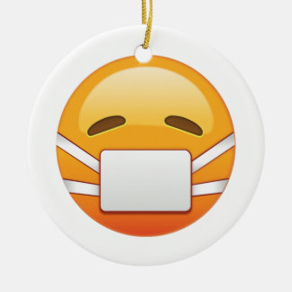 Ornamento De Cerâmica Doente - Emoji