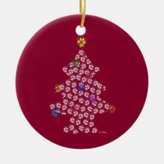 Ornamento De Cerâmica Dog Paw Christmas Tree