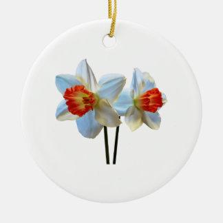 Ornamento De Cerâmica Dois brancos e Daffodils alaranjados