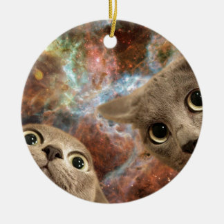 Ornamento De Cerâmica Dois gatos cinzentos no espaço antes de uma