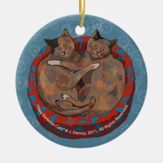 Ornamento De Cerâmica Dois gatos da concha de tartaruga…