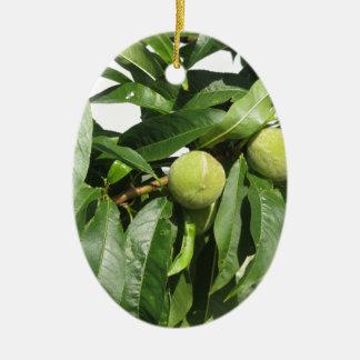 Ornamento De Cerâmica Dois pêssegos verdes unripe que penduram em uma