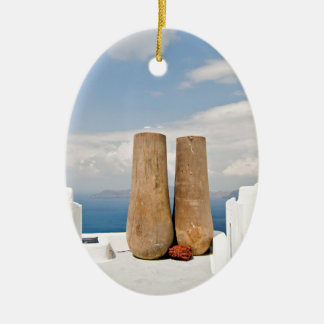 Ornamento De Cerâmica Dois potes grandes na ilha de Santorini