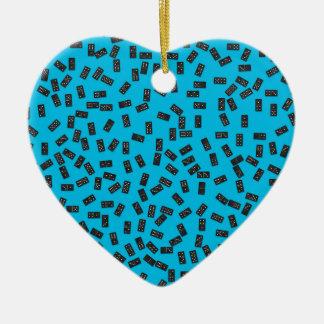 Ornamento De Cerâmica Dominós no azul