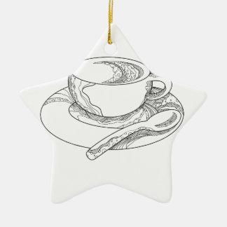 Ornamento De Cerâmica Doodle da chávena de café