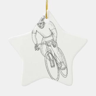Ornamento De Cerâmica Doodle de competência da bicicleta da estrada