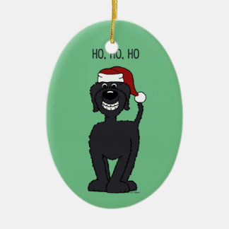 Ornamento De Cerâmica Doodle preta Santa