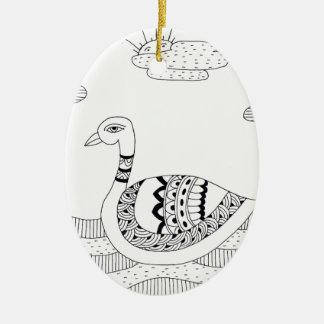Ornamento De Cerâmica Doodle preto e branco da cisne