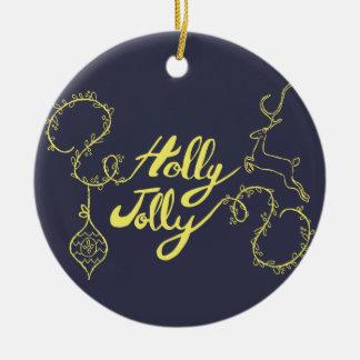 """Ornamento De Cerâmica Dos cervos do """"azevinho presentes do Natal"""