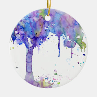 Ornamento De Cerâmica Dossel de árvore roxo abstrato da aguarela