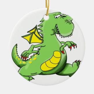 Ornamento De Cerâmica Dragão verde dos desenhos animados que anda em