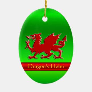 Ornamento De Cerâmica dragão vermelho do Gravar-olhar no cromo-efeito