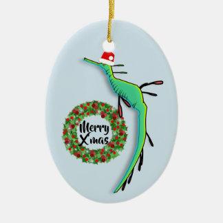 Ornamento De Cerâmica Dragão Weedy do mar do Natal