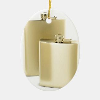 Ornamento De Cerâmica Duas garrafas ancas douradas