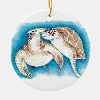 Ornamento De Cerâmica Duas tartarugas de mar