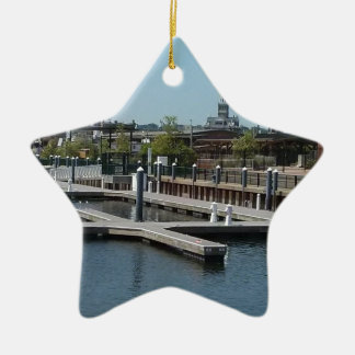 Ornamento De Cerâmica Dubuque, porto do gelo de Iowa, rio Mississípi