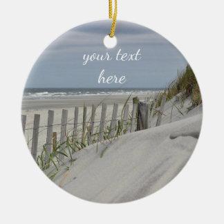 Ornamento De Cerâmica Dunas resistidas da cerca e de areia na praia