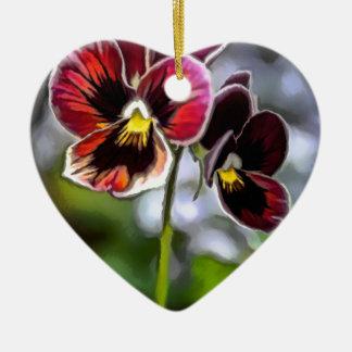Ornamento De Cerâmica Duo da flor do amor perfeito do Bordéus