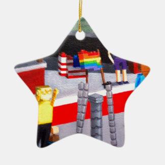 Ornamento De Cerâmica E.U. e bandeiras do orgulho feitas dos blocos