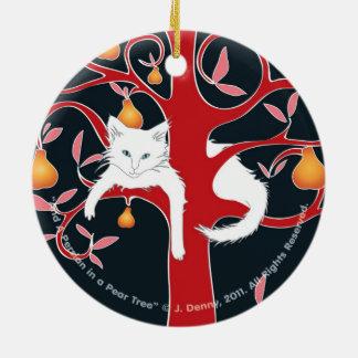 Ornamento De Cerâmica E um persa em um dobro da árvore de pera… tomou