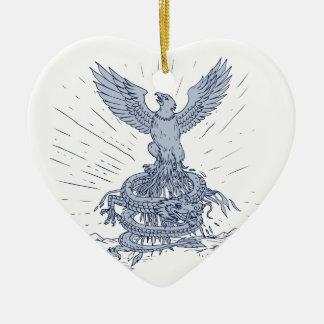 Ornamento De Cerâmica Eagle e tiragem das montanhas do dragão