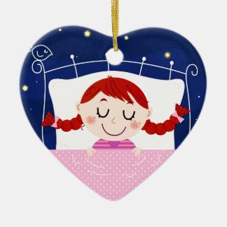 Ornamento De Cerâmica Edição dos desenhistas com a menina de sono bonito