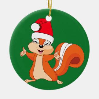 Ornamento De Cerâmica Efervescente o esquilo brincalhão no Natal