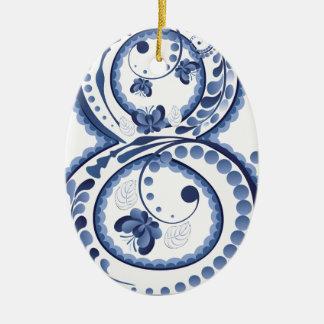 Ornamento De Cerâmica Eight3 floral azul