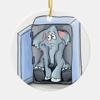 Ornamento De Cerâmica Elefante dos desenhos animados que senta-se dentro