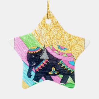 Ornamento De Cerâmica Elefante pequeno bonito colorido do madhubani