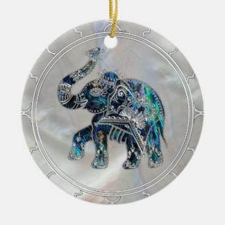 Ornamento De Cerâmica Elefante quadro prata no olmo e na pérola