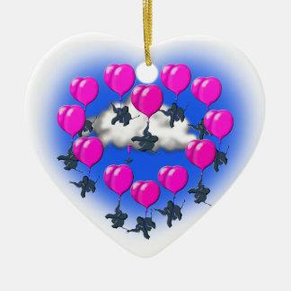 Ornamento De Cerâmica elefantes do vôo em uma forma do coração