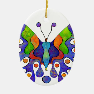 Ornamento De Cerâmica Elenissina - borboleta colorida