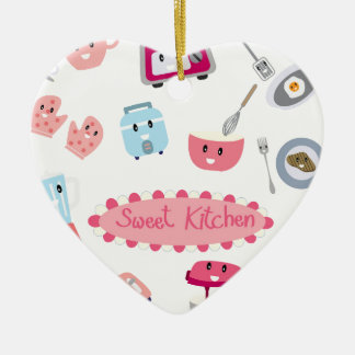 Ornamento De Cerâmica Eletricidade cor-de-rosa doce da cozinha e ícone