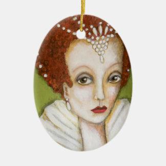 Ornamento De Cerâmica Elizabeth artística mim arte lunática de Tudor do
