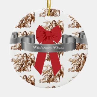 Ornamento De Cerâmica Elogio vermelho grande do Natal do arco e dos