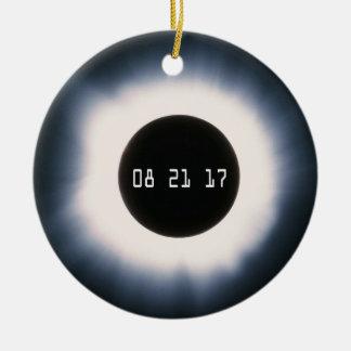 Ornamento De Cerâmica Em agosto de 2017 eclipse solar total em preto e