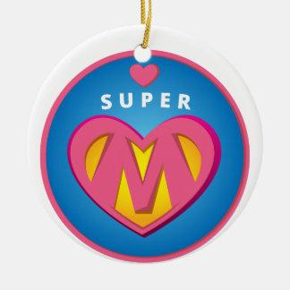Ornamento De Cerâmica Emblema engraçado da mamã do Superwoman do