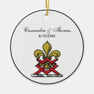 Ornamento De Cerâmica Emblema heráldico vermelho da flor de lis da