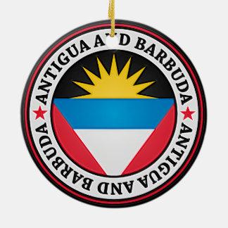 Ornamento De Cerâmica Emblema redondo de Antígua e de Barbuda