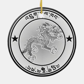 Ornamento De Cerâmica Emblema redondo de Bhutan