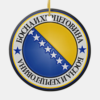 Ornamento De Cerâmica Emblema redondo de Bósnia e de Herzegovina