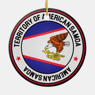 Ornamento De Cerâmica Emblema redondo de Samoa Americanas