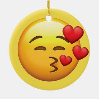 Ornamento De Cerâmica Emoji do beijo