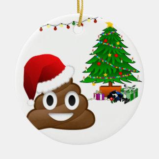 Ornamento De Cerâmica emoji do poo do Natal