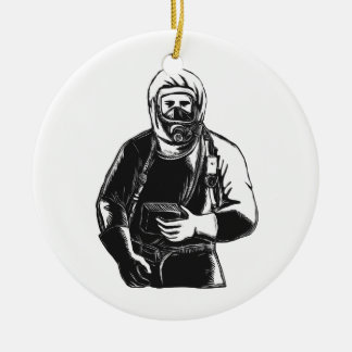Ornamento De Cerâmica EMT que veste o terno Scratchboard de Hazmat