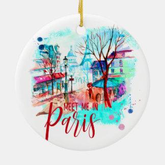 Ornamento De Cerâmica Encontre-me na aguarela da torre Eiffel de Paris